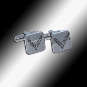 C8 Corvette Next Generation Polished Cufflinks - [Corvette Store Online]