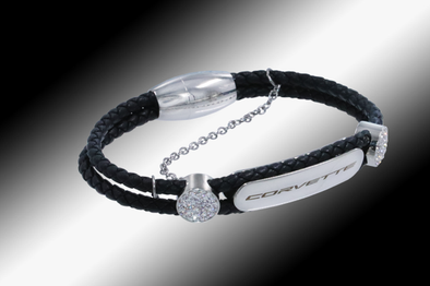 C8 Corvette Next Generation Ladies Braided Leather Signature Bracelet - [Corvette Store Online]