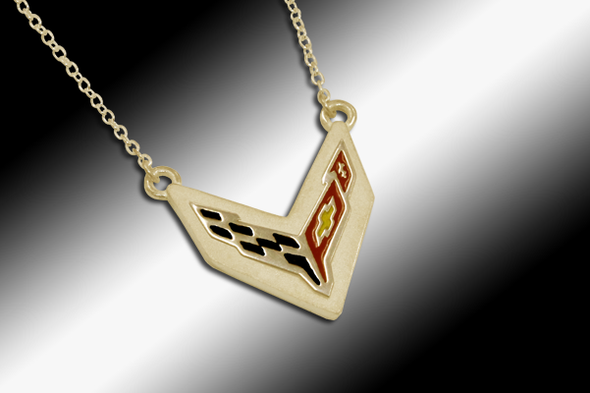 C8 Next Generation Corvette Emblem Necklace -14k Gold - [Corvette Store Online]