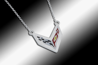 C8 Next Generation Corvette Emblem Necklace | Sterling Silver - [Corvette Store Online]