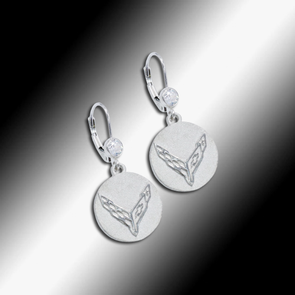 C8 Next Generation Corvette Emblem Cubic Zirconia Earrings - Sterling Silver - [Corvette Store Online]