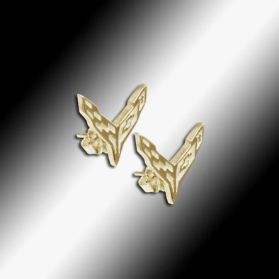C8 Next Generation Corvette Emblem Post Earrings - 14K Gold - [Corvette Store Online]