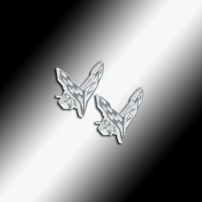 C8 Next Generation Corvette Emblem Post Earrings - Sterling Silver - [Corvette Store Online]