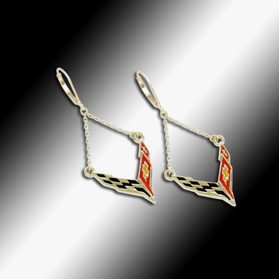 C8 Next Generation Corvette Emblem Lever Back Chain Earrings - 14k Gold - [Corvette Store Online]