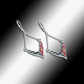 C8 Next Generation Corvette Emblem Lever Back Chain Earrings - Sterling Silver - [Corvette Store Online]