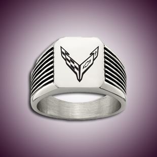 C8 Corvette Signet Ring with Black Enamel