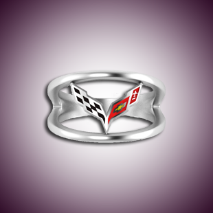 Ladies C7 Corvette Enamel Logo Ring - Sterling Silver