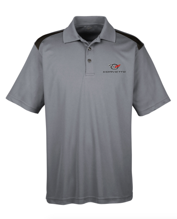 C5 Corvette Men's Polo Shirt-Heather Grey