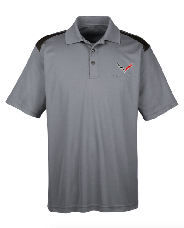 C7 Corvette Men's Polo Shirt-Heather Grey