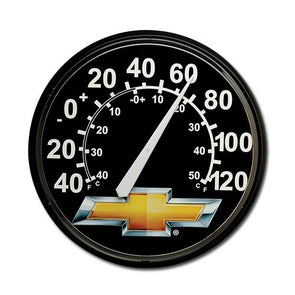 "Gold Bowtie Round Plastic 12"" Wall Thermometer - [Corvette Store Online]"