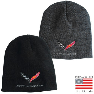 Stingray Flag Knit Pullover Beanie - [Corvette Store Online]