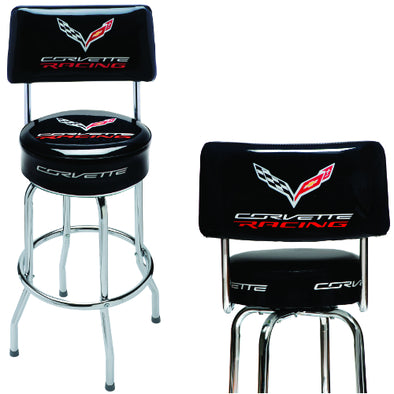 Corvette Racing Counter Stool with Back - [Corvette Store Online]
