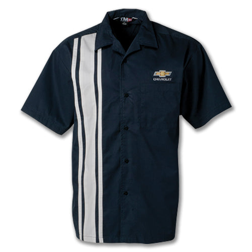 Chevrolet Gold Bowtie Race Stripe Camp Shirt - [Corvette Store Online]