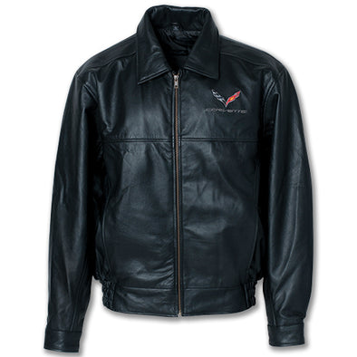 C7 Corvette Textured Lamb Leather Jacket - corvettestoreonline-com
