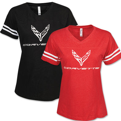 Ladies C8 Corvette 2020 Football Jersey Tee