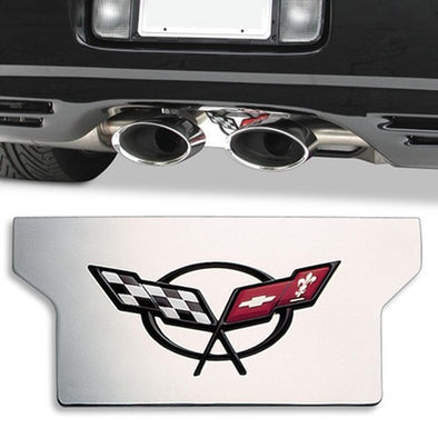 C5 & Z06 Corvette Exhaust Plate | Polished Stainless Steel | C5 Logo | 1997-2004 - [Corvette Store Online]