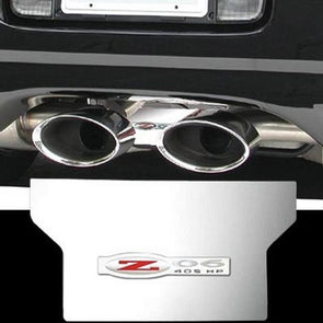 C5 & Z06 Corvette Exhaust Plate | Polished Stainless Steel | Z06 405HP Logo - [Corvette Store Online]