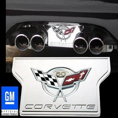 C5 & Z06 Corvette Exhaust Plate | Billet Chrome with 50th Anniversary Logo | 1997-2004 - [Corvette Store Online]
