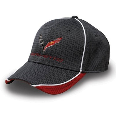 Corvette Hex Pattern Cap - Graphite/Red - [Corvette Store Online]