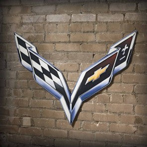 C7 Corvette Crossed Flags Steel Sign - [Corvette Store Online]