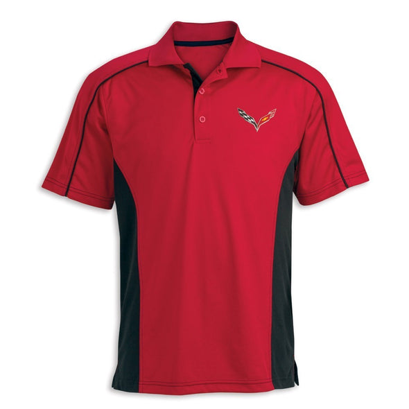 Stingray Extreme Performance Colorblock Polo - Red/Black - [Corvette Store Online]