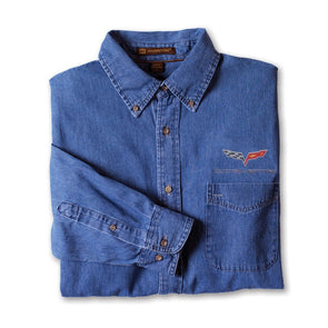Corvette C6 Denim Shirt - Light Denim - [Corvette Store Online]