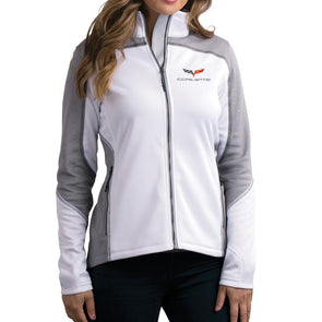 C6 Corvette Knit Ladies Jacket | White-Heather Gray - [Corvette Store Online]
