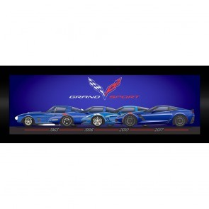 "Grand Sport Generations Framed Artwork 15"" X 35"" - [Corvette Store Online]"