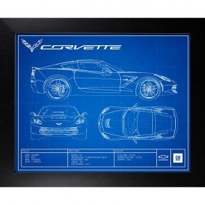 "Corvette C7 Blueprint Framed Artwork 19"" x 23"" - [Corvette Store Online]"