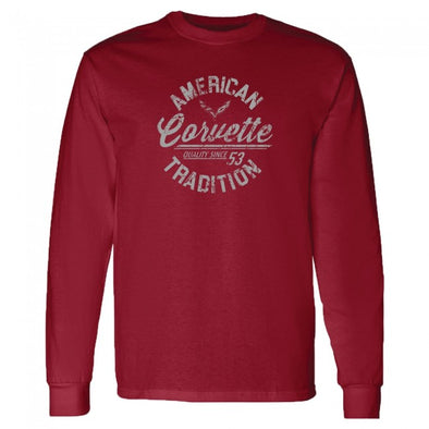 Corvette American Tradition Long Sleeve Tee - Garnet - [Corvette Store Online]