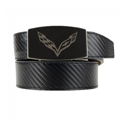 C7 Corvette Carbon Fiber Pattern Custom-Fit Leather Belt - Black - [Corvette Store Online]