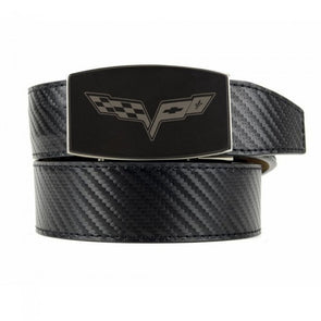 C6 Corvette Carbon Fiber Pattern Custom-Fit Leather Belt - Black - [Corvette Store Online]
