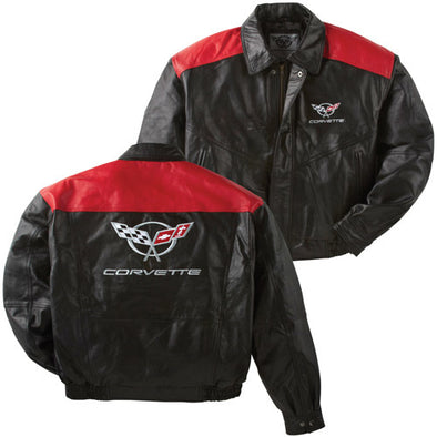 C5 Corvette Color Block Lambskin Jacket - corvettestoreonline-com