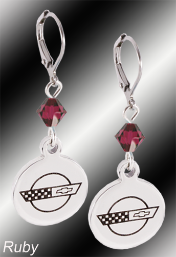 C4 Corvette | Emblem Swarovski Crystal | 5/8'' Earrings - [Corvette Store Online]