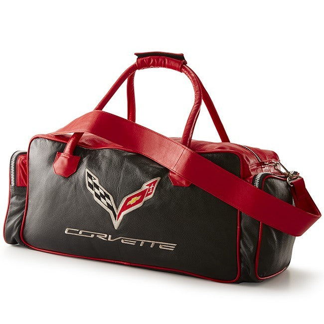 "C7 Corvette Duffle Bag 24"" Blk/Red - [Corvette Store Online]"