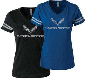 Ladies C7 Corvette Football Jersey Tee - [Corvette Store Online]