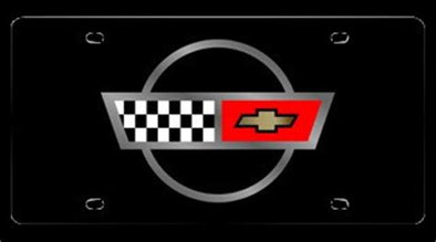 C4 Corvette License Plate | Crossed Flags Logo - [Corvette Store Online]