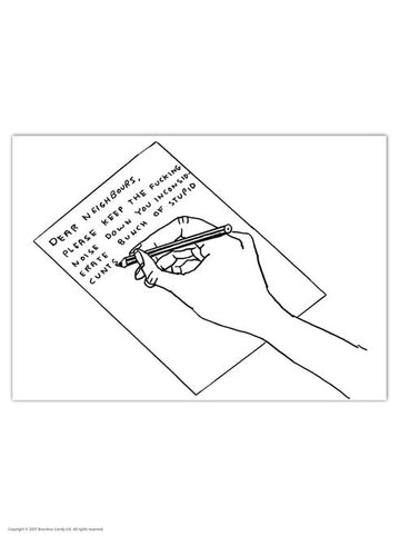 David Shrigley Dear Neighbours Postcard