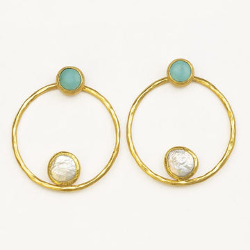 Disco Circles Pearl and Turquoise Statement Earrings