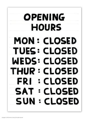 David Shrigley Opening Hours Postcard