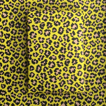 Yellow/Pale Pink Leopard Wrapping Paper