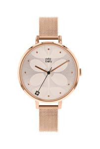 Orla Kiely Womens Ivy Rose Gold Mesh Bracelet Watch OK4064
