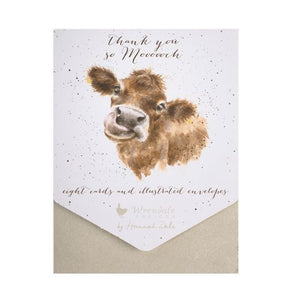 Wrendale 'Thank you so Mooooch' Notelet Set