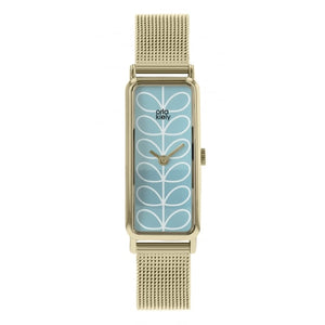 Orla Kiely Women's Interchangeable Stem Mesh Watch Gold with Mesh & Olive Strap