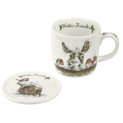 Royal Worcester Wrendale Winter Friends Fine Bone China Mug and Coaster