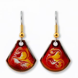 Maeb Enamels - African Sun Red - Small T Drop Earrings