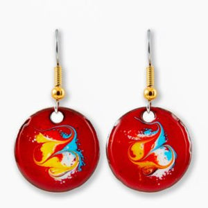 Maeb Enamels Cotopaxi Red - Small Drop Earrings