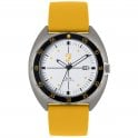 Mens Sport Silver Sandblast Watch with a Yellow Silicone Strap