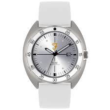 Mens Sport Silver Sandblast Watch with a White Silicone Strap