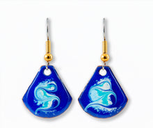 Load image into Gallery viewer, Maeb Enamels - Electric Blue Small T Drop Earrings